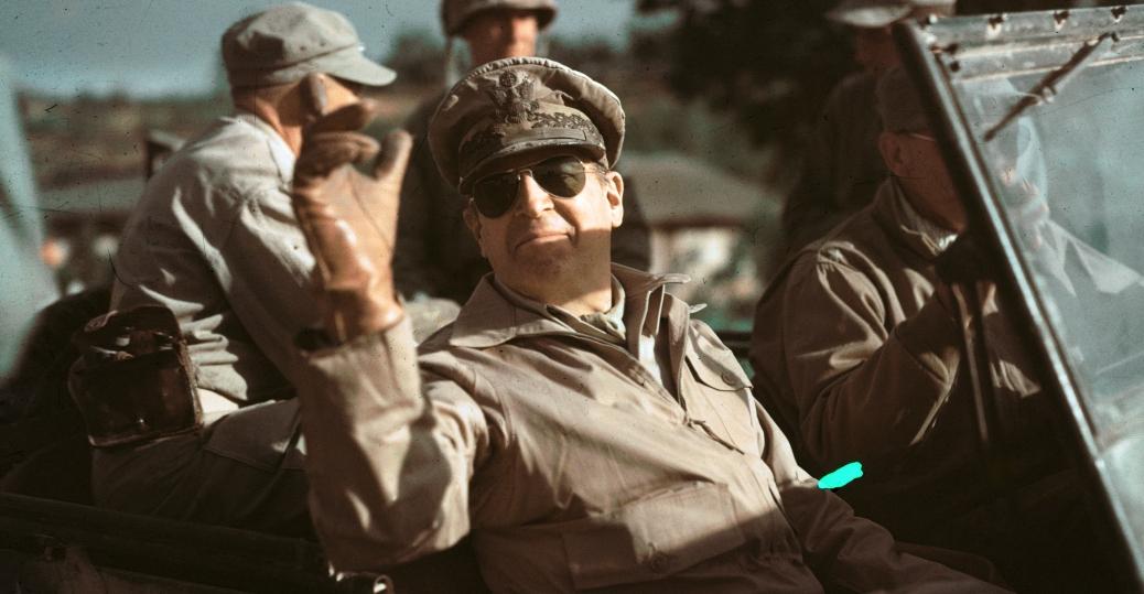 general douglas macarthur, commander in chief of u.n. forces, the korean war, president truman