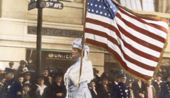 Suffragist at march for women's rights