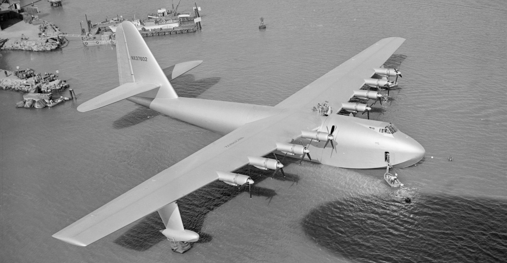 1947, howard hughes, flying boat, spruce goose, aircraft, inventions, transportation