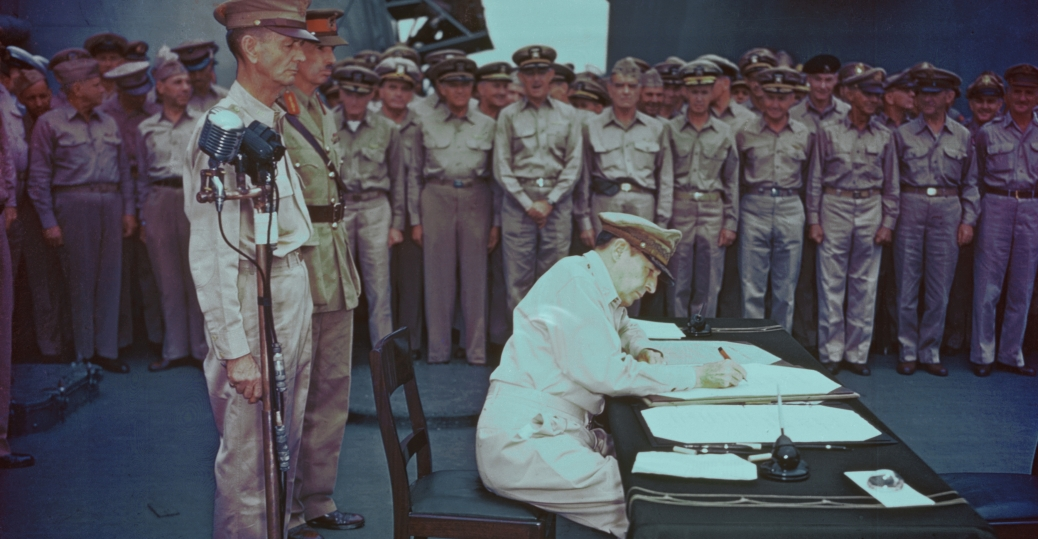 douglas macarthur, general douglas macarthur, supreme commander, allied military leaders, world war II, japanese surrender document, u.s.s. missouri, tokyo bay, japan, 1945