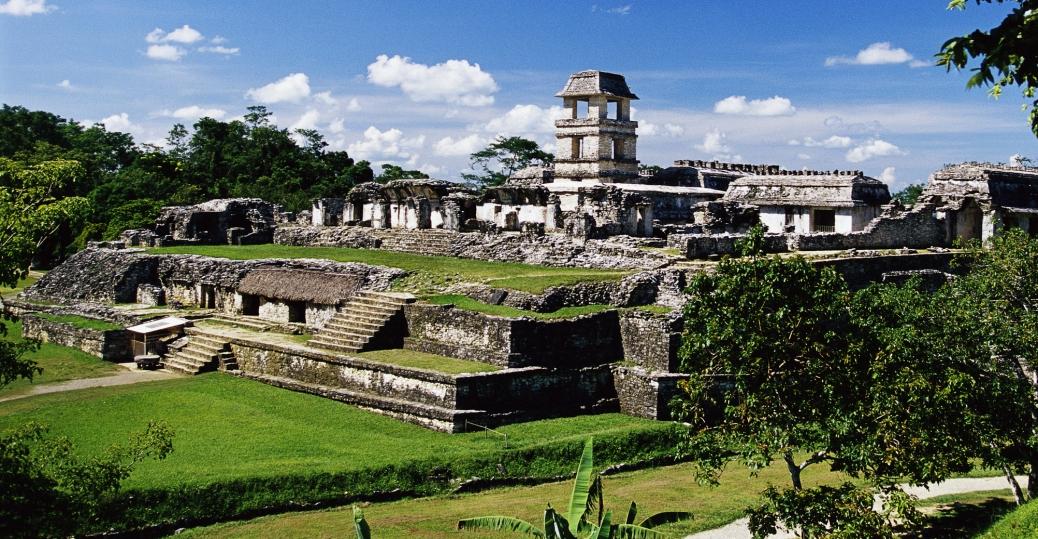 mayan great palace, ruinas de palenque, chiapas, mexico