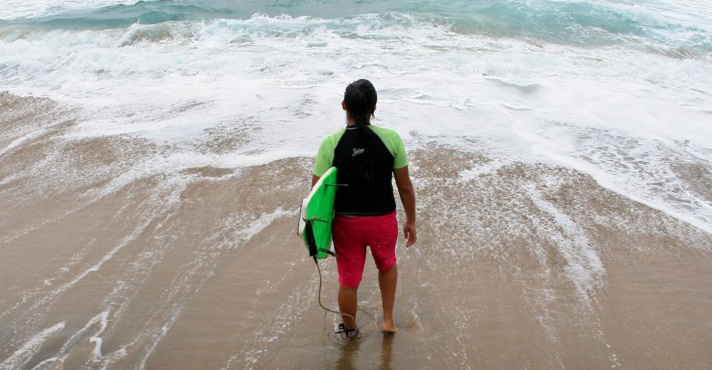 surfer, hurricane john, pacific coastline, mexico, colima