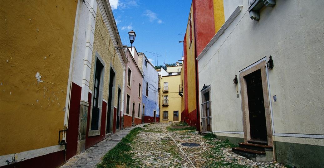 guanajuato, mexico, calle san roque, cobblestone, colorful buildings