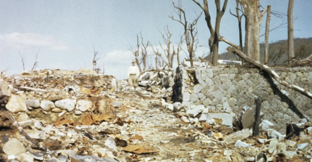 atomic bomb, nagasaki, 1945, rubble, world war II, world war II destruction