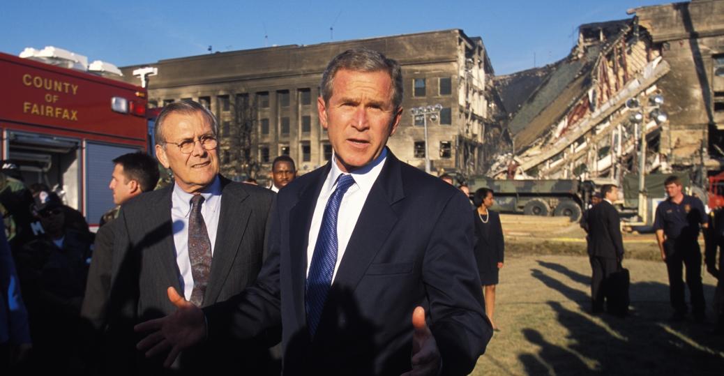 the pentagon, september 11, 2001, september 11th attacks, terrorist attack, president george w. bush, secretary of defense donald rumsfeld