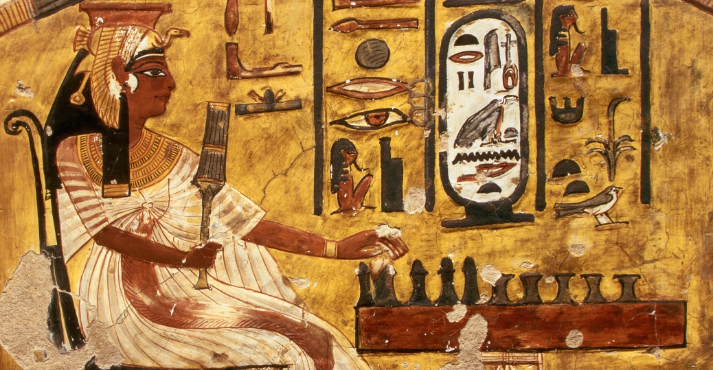 Fresco painting of nefertari playing senet egyptian