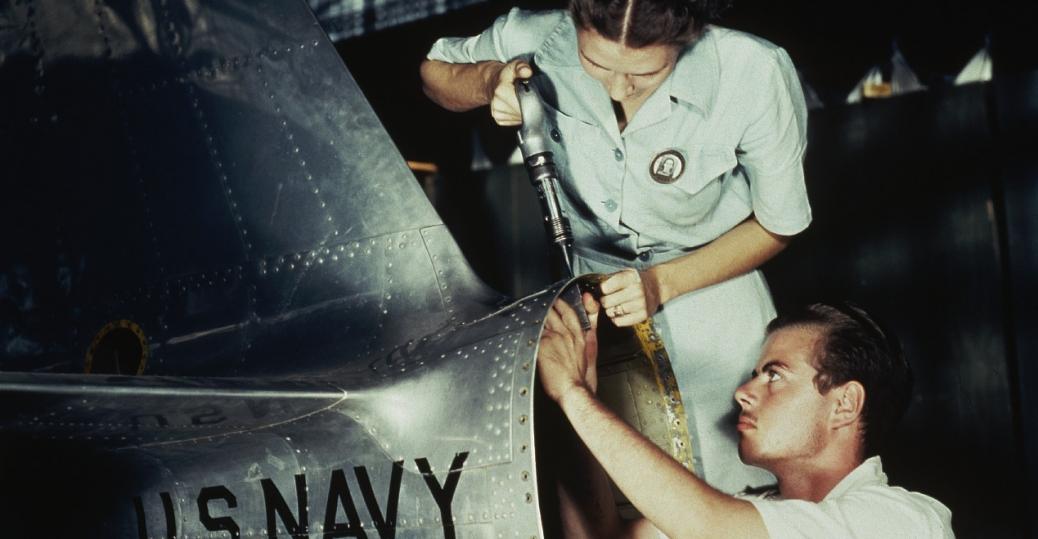 riveters, factory workers, world war II, 1942, corpus christi, texas, women in the workforce, women factory workers