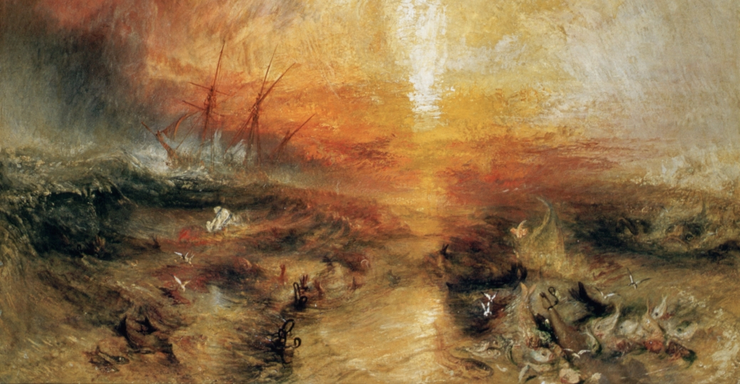 an interpretation of slave ship a painting by joseph mallord william turner The slave ship, originally titled slavers throwing overboard the dead and dying —typhoon coming on, is a painting by the british artist j m w turner,  1  history 2 description 3 style and interpretation 4 critics 5 references 6  external.