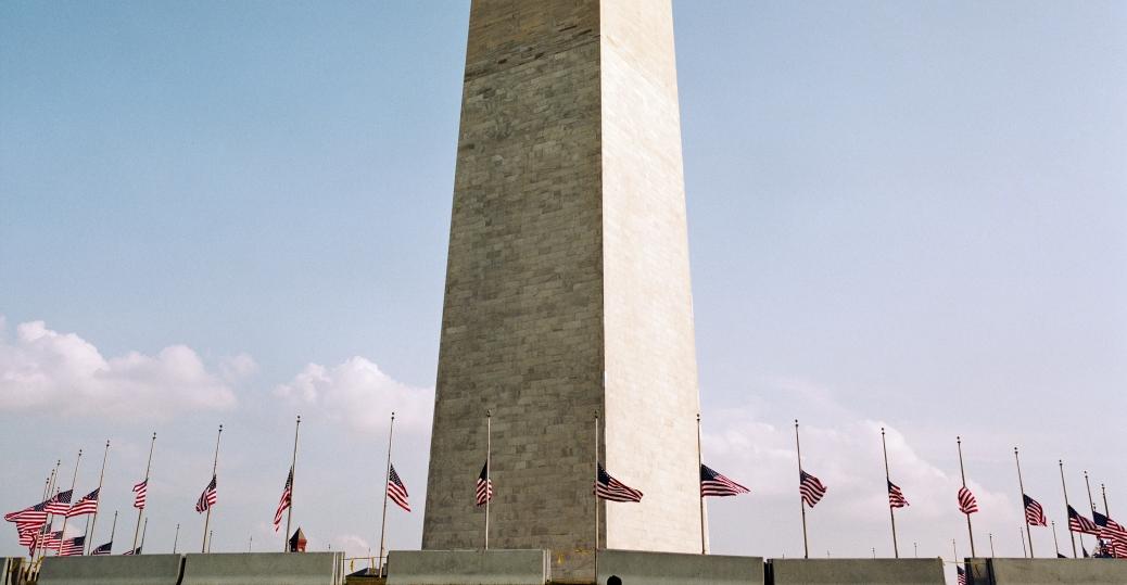 the pentagon, september 11, 2001, september 11th attacks, terrorist attack, united flight 93, 9/11, the washington memorial, washington, d.c., american flags, half-mast