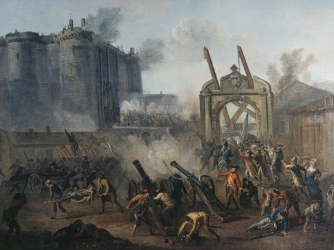 storming the bastille, july 14, 1789, parisian revolutionaries, bastille prison, protest, king louis xvi, start of the french revolution, the french revolution, french history