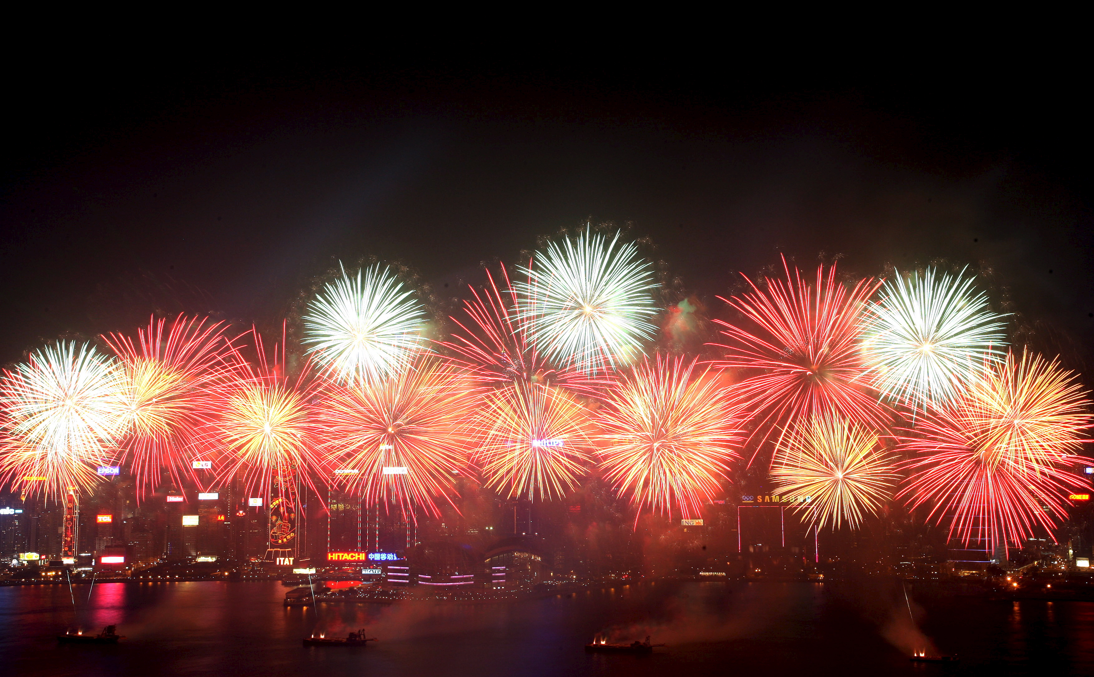 victoria harbour hong kong china chinese new year fireworks new year