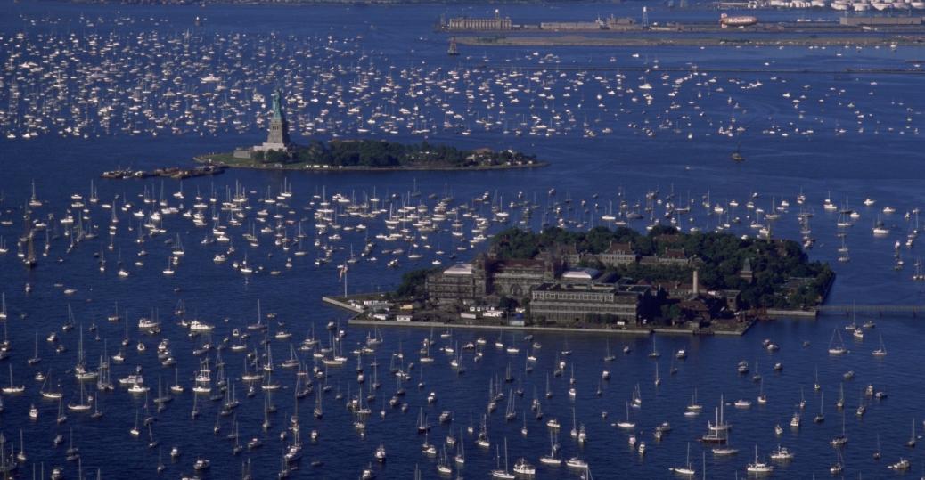 liberty island, the statue of liberty, new york, new york harbor, immigration, ellis island
