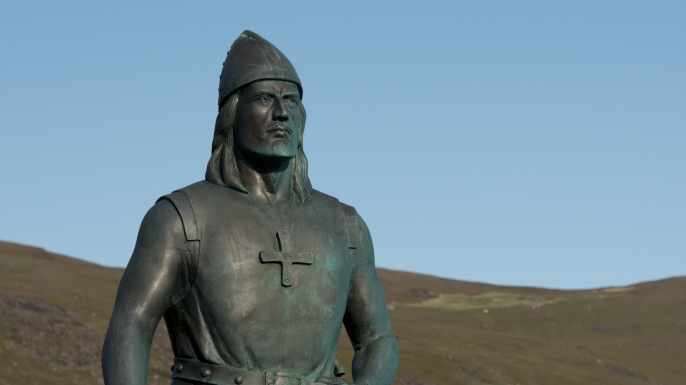 Erik the Red's Eastern Settlement, Leif Erikson statue, Qassiarsuk, Brattahlid, Tunulliarfik (aka Erik's Fjord), Greenland, Denmark. (Credit: Bettmann/Getty Images)