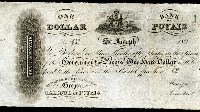 "Dollar Bill from ""Bank of Poyais"""