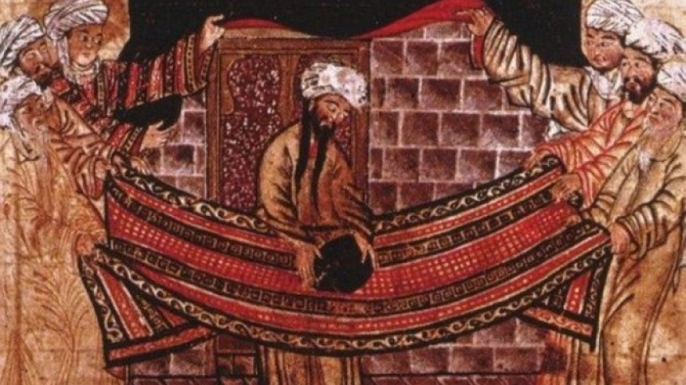 14th-century illustration of the rebuilding of the Kaaba in Mecca during the early 600s.