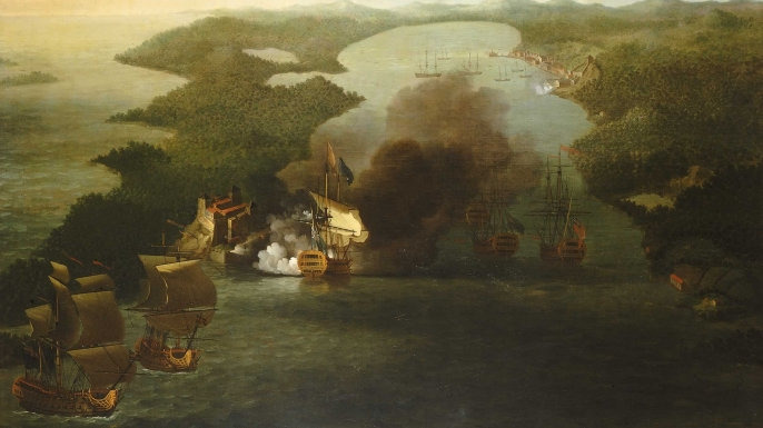 Painting of the capture of Porto Bello