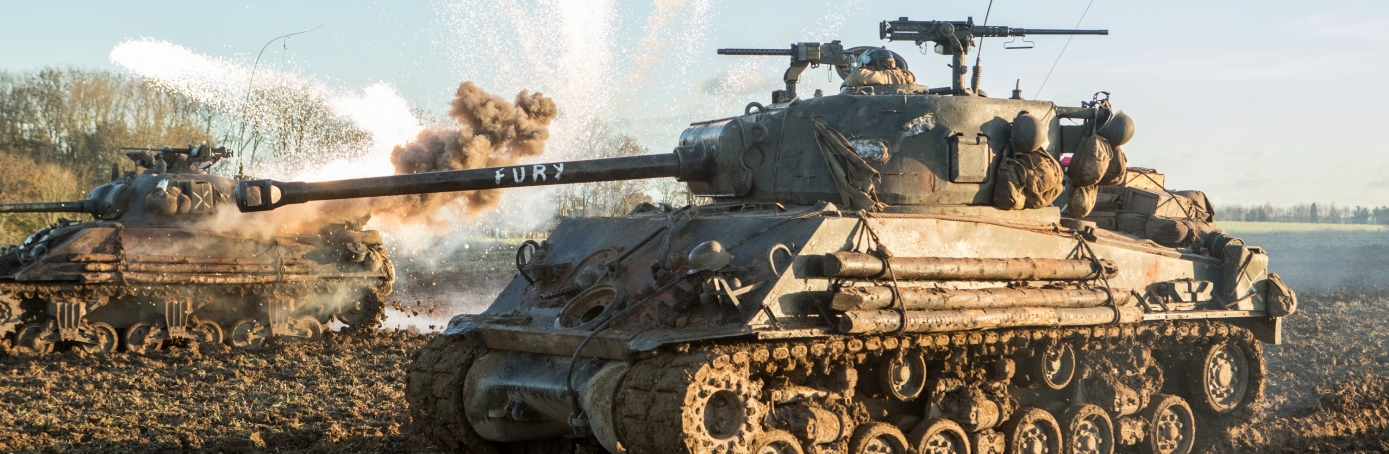 """Production still from the filming of """"Fury"""""""