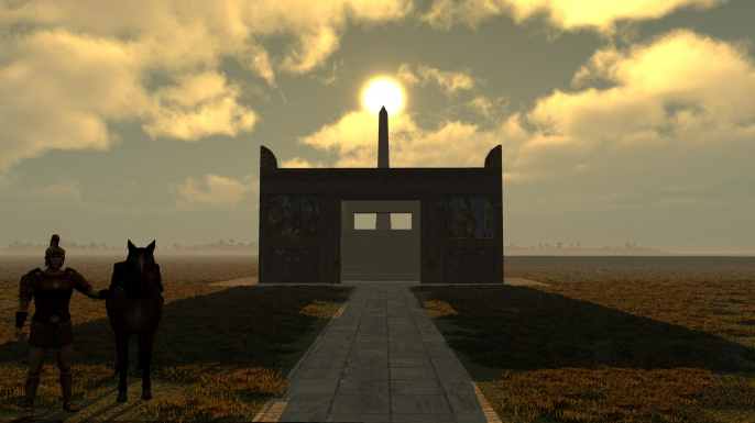 irtual simulation image of the sun atop the obelisk with the Altar of Peace in the foreground.