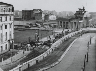 Berlin Wall under construction in 1961