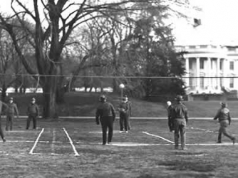 A game of Hooverball underway at the the White House, 1933.