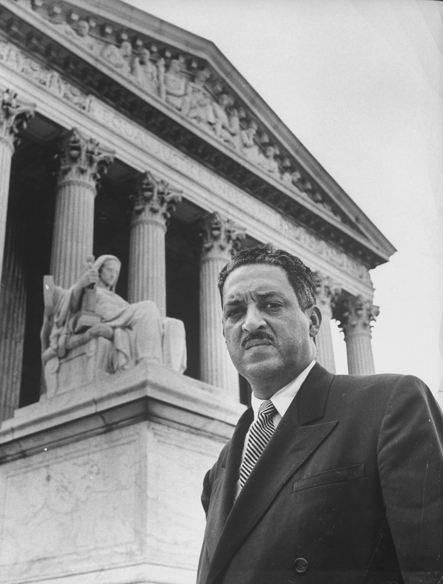 NAACP chief counsel Thurgood Marshall outside the Supreme Court