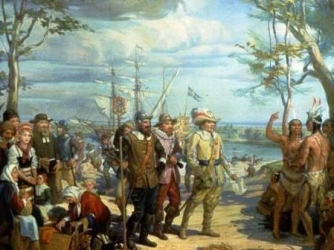 """Peter Minuit's """"purchase"""" of Manhattan, May 1626."""