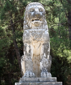 """""""Lion of Amphipolis"""" statue, originally part of the tomb complex, which was discovered in 2012. (Credit: SAKIS MITROLIDIS/AFP/Getty Images)"""
