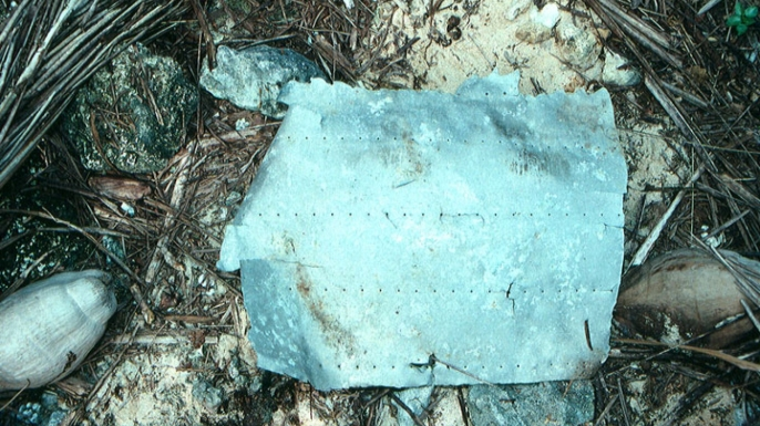 Aluminum debris, first discovered in 1991, believed to be from Earhart's plane