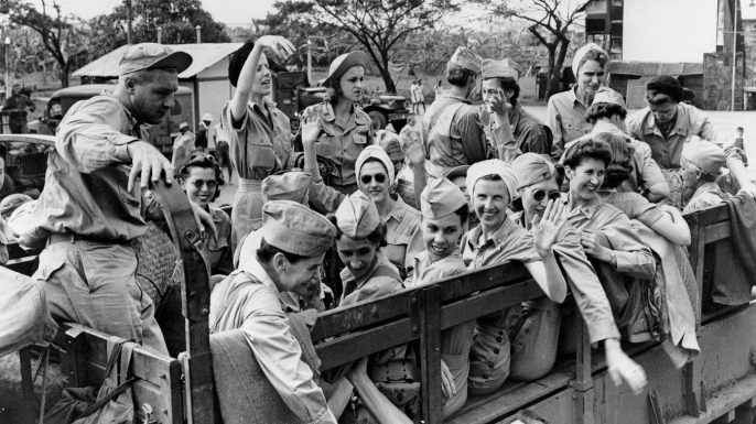 Liberated from Santo Tomas Internment Camp after two and a half years, nurses known as the Angels of Bataan and Corregidor leave Manila in February 1945.