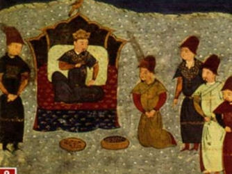Batu Khan on the throne of the Golden Horde