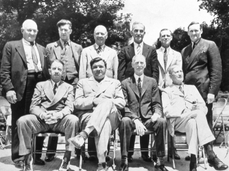 The first inductees into the Hall of Fame: Honus Wagner, Grover Cleveland Alexander, Tris Speaker, Nap Lajoie, George Sisler, Walter Johnson, Eddie Collins, Babe Ruth, Connie Mack and Cy Young (Credit: Getty Images)
