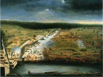 Painting of the battle by a member of the Louisiana militia