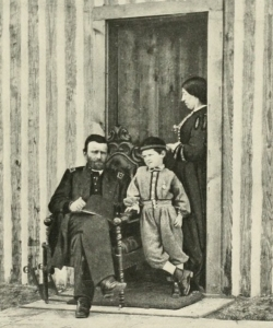 Ulysses S. Grant with his wife, Julia, and son, Jesse, in City Point, Virginia