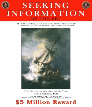 "FBI reward poster featuring Rembrandt's ""The Storm on the Sea of Galilee."""