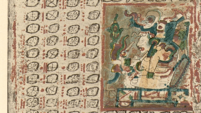 A page from the ancient Mayan text known as the Dresden Codex.