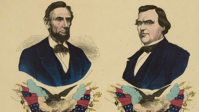 1864 campaign poster featuring Abraham Lincoln and running mate Andrew Johnson