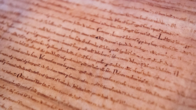 Detailed view of an original Magna Carta copy from Lincoln Cathedral