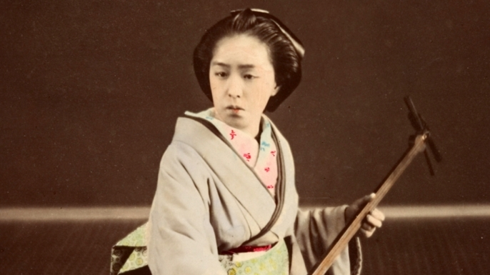 A Japanese geisha in the 1870s.