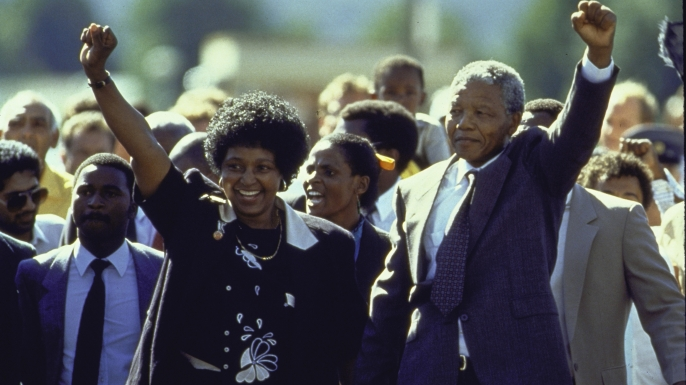 Nelson Mandela and his wife Winnie upon his release from Victor Verster prison on February 11, 1990.