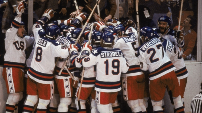 Team USA celebrates their 4-3 victory of the Soviet Union on February 22, 1980.