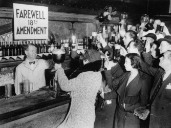 Bar patrons celebrate the repeal of Prohibition in 1933 (Credit: Imagno/Getty Images)