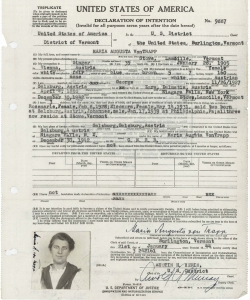 Maria von Trapp's declaration of intent to become a U.S. citizen. (Credit: National Archives)