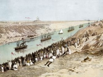 The opening of the Suez Canal on November 17, 1869 (Credit: The Print Collector/Getty Images)