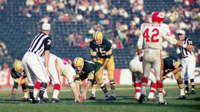 The Green Bay Packers and Kansas City Chiefs compete during Super Bowl I on January 15, 1967.
