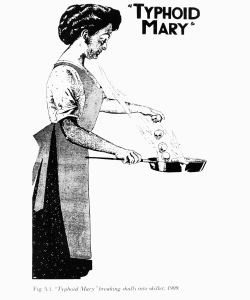Illustration of Typhoid Mary breaking skulls into a skillet, circa 1909. (Credit: Fotosearch/Getty Images)