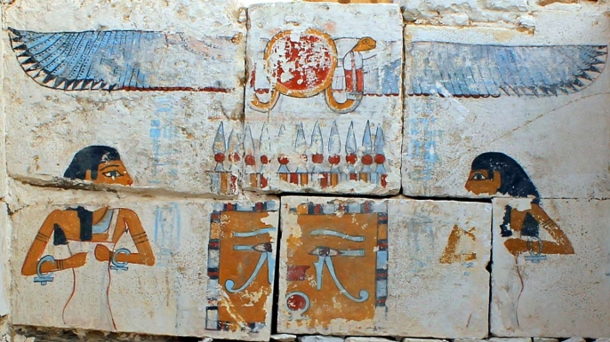 Recently discovered pictures adorn the tomb of King Woseribre Senebkay.