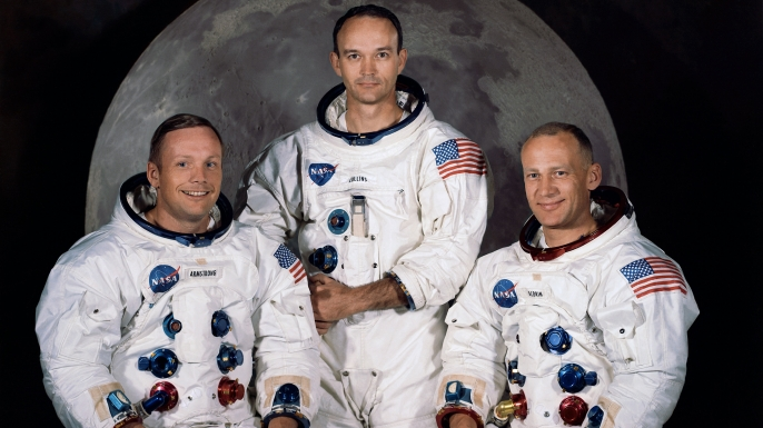 """Left to Right: Neil Armstrong, Michael Collins, Edwin """"Buzz"""" Aldrin Jr."""