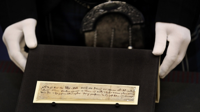 This 700-year-old note of recommendation, issued by King Philip IV of France and possibly carried by William Wallace, will go on display in August at the Scottish Parliament.