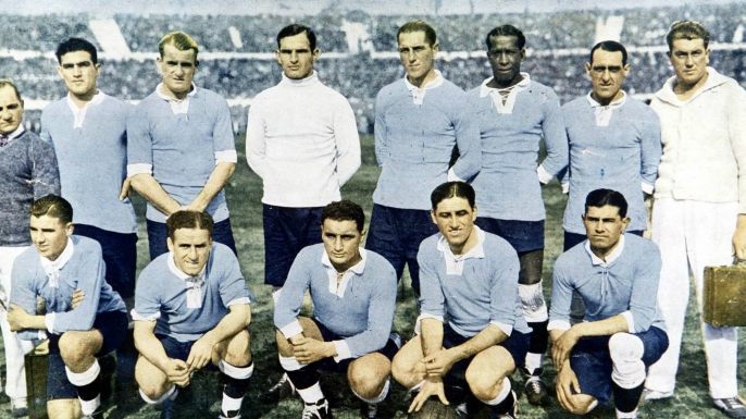 Members of the Uruguay national football team in 1930, the year they won the inaugural World Cup.