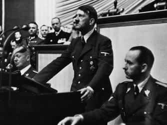 Hitler addresses the Reichstag on September 1, 1939 (Credit: Corbis)